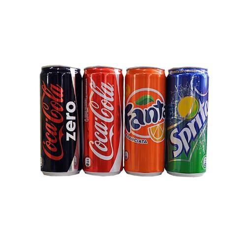Bibite in lattina, Coca Cola, Fanta, Sprite