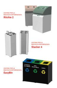 contenitori differenziata, cestini per la raccolta differenziata