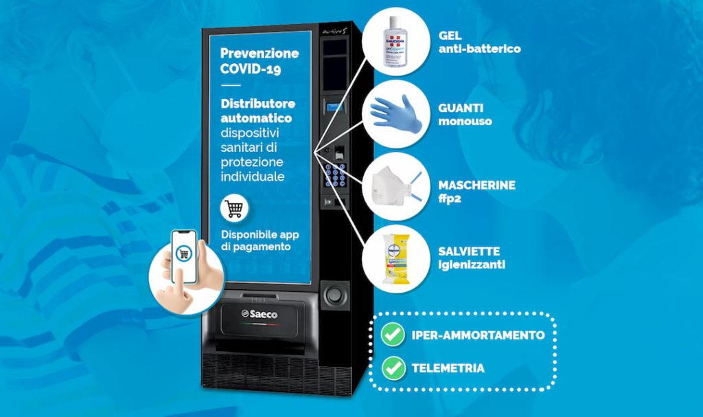 distributore automatico mascherine e dispositivi prevenzione sanitaria