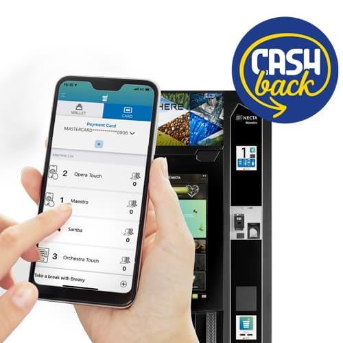 cashback con Breasy app distributori automatici