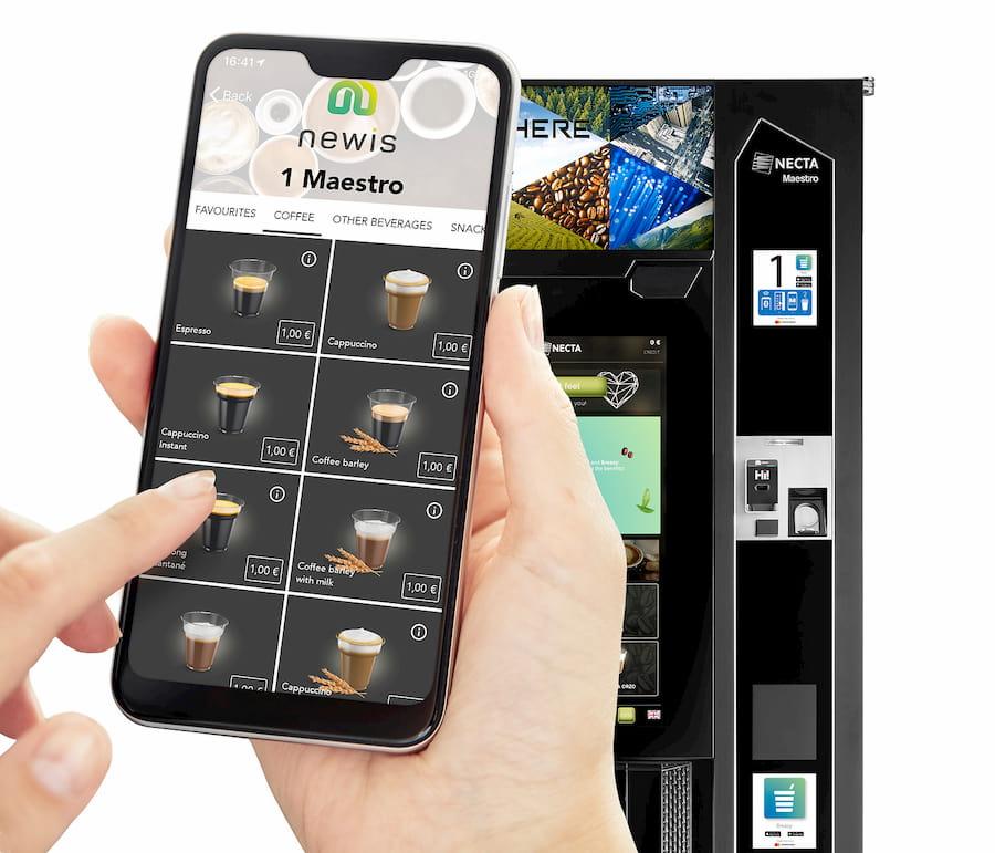 selezione e pagamento caffè in app